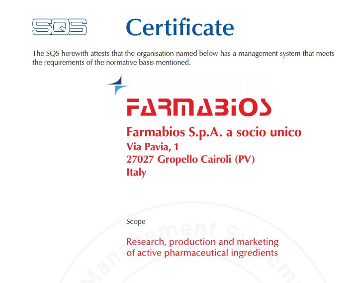 New ISO Certificates for FarmaBios (Gropello Cairoli, Italy)